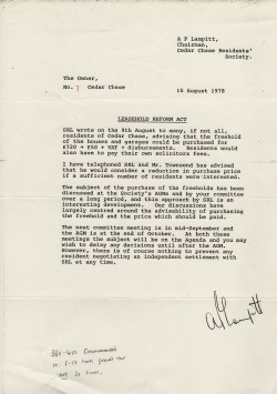 Letter to residents about the possible purchase of the freehold, 18th August 1978