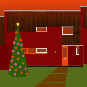 Poster-style image of the front of 2 Cedar Chase with a Christmas Tree
